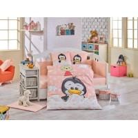 Lenjerie de pat copii Bumbac 100% Penguin Salmon