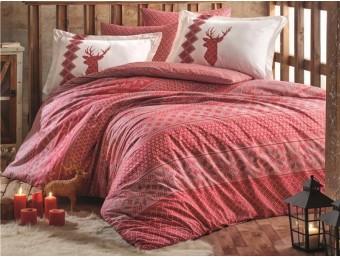 Lenjerie de pat dublu din Bumbac 100% Poplin Clarinda Red