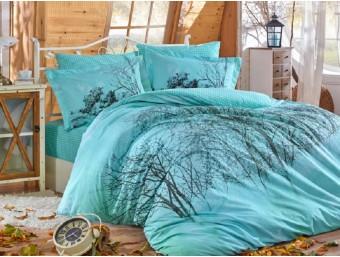 Lenjerie de pat dublu din Bumbac 100% Poplin Margherita Turquoise