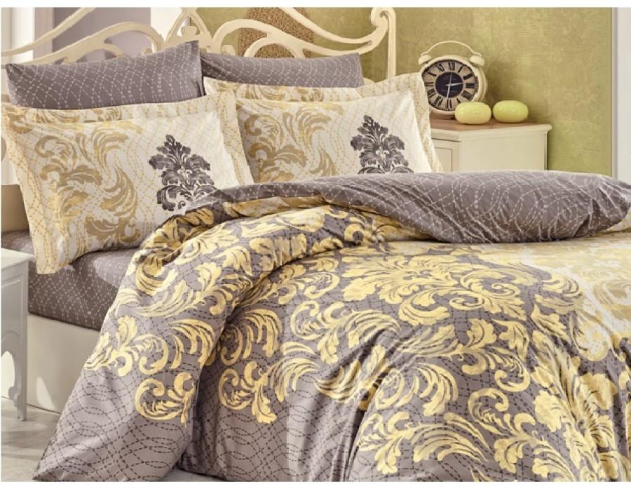 Lenjerie de pat dublu din Bumbac 100% Poplin Mirella Cappuccino