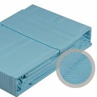 Lenjerie de pat dublu din Bumbac 100% Satinat Strippe Aqua