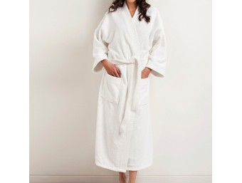Halat baie bumbac 100% barbati/femei Alb Frottier 2 cu guler kimono