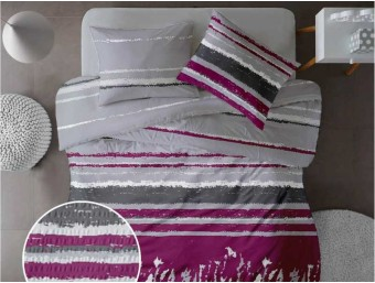 Lenjerie de pat pentru doua persoane din Bumbac 100% Creponat Grunge V3 - 4 piese XXL