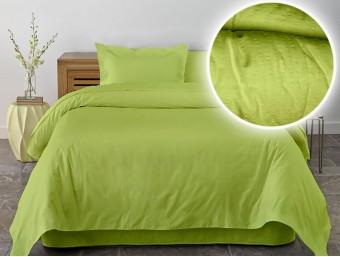 Lenjerie de pat dublu din Bumbac 100% Creponat Lime - XXL