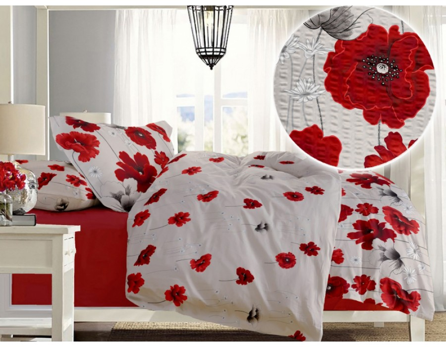 Lenjerie de pat dublu din Bumbac 100% Creponat Poppy Field