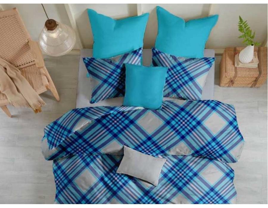 Lenjerie de pat pentru doua persoane din Bumbac 100% Creponat Scottish V5 - 4 piese