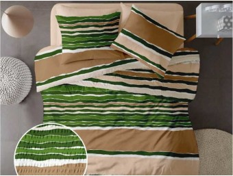 Lenjerie de pat pentru doua persoane din Bumbac 100% Creponat Vibe V1 - 4 piese