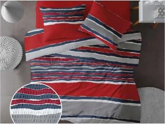 Lenjerie de pat pentru doua persoane din Bumbac 100% Creponat Vibe V2 - 4 piese XXL