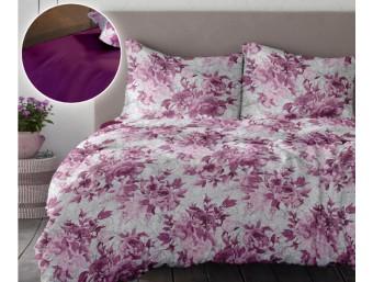 Lenjerie de pat dublu din Bumbac 100% Creponat Romance V1 - Roz Fuchsia Red