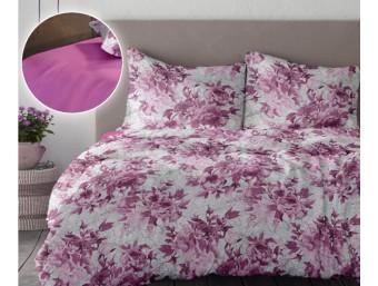 Lenjerie de pat dublu din Bumbac 100% Creponat Romance V1 - Roz Rosebloom
