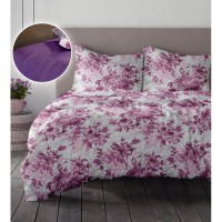 Lenjerie de pat dublu din Bumbac 100% Creponat Romance V1 - XXL - Mov Iris Orchid