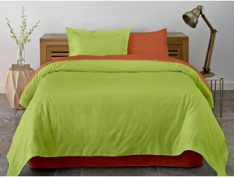 Lenjerie de pat dublu din Bumbac 100% Ranforce Pumpkin & Lime XXL