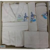 Set de baie cu halat si prosoape pentru copii 0- 2 ani Bugs Bunny Crem