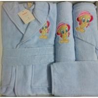 Set de baie cu halat si prosoape pentru copii 0- 2 ani Tweety Blue