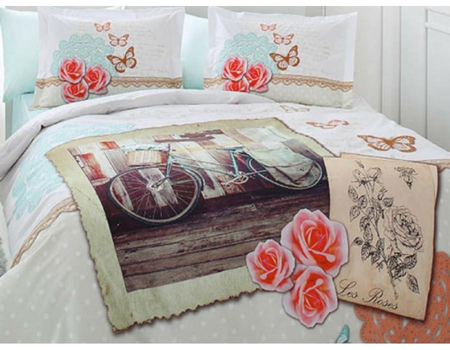 Lenjerie de pat dublu din Bumbac 100% Ranforce Les Roses