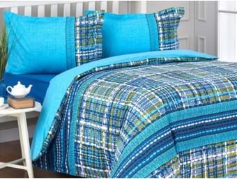 Lenjerie de pat dublu din Bumbac 100% Tweed Albastru