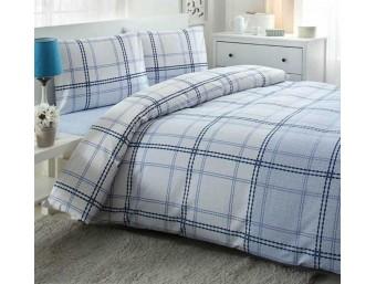 Lenjerie de pat dublu din Finet Lenor Albastru