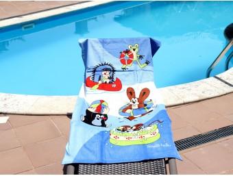 Prosop plaja pentru copii din bumbac 100%, Albastru-soricei, 70x150 cm