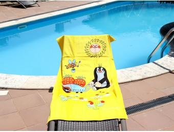 Prosop plaja pentru copii din bumbac 100%, Galben-soare, 70x150 cm
