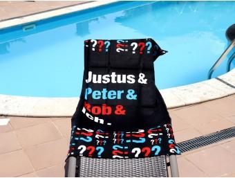 Prosop plaja pentru copii din bumbac 100%, Negru-text, 70x150 cm